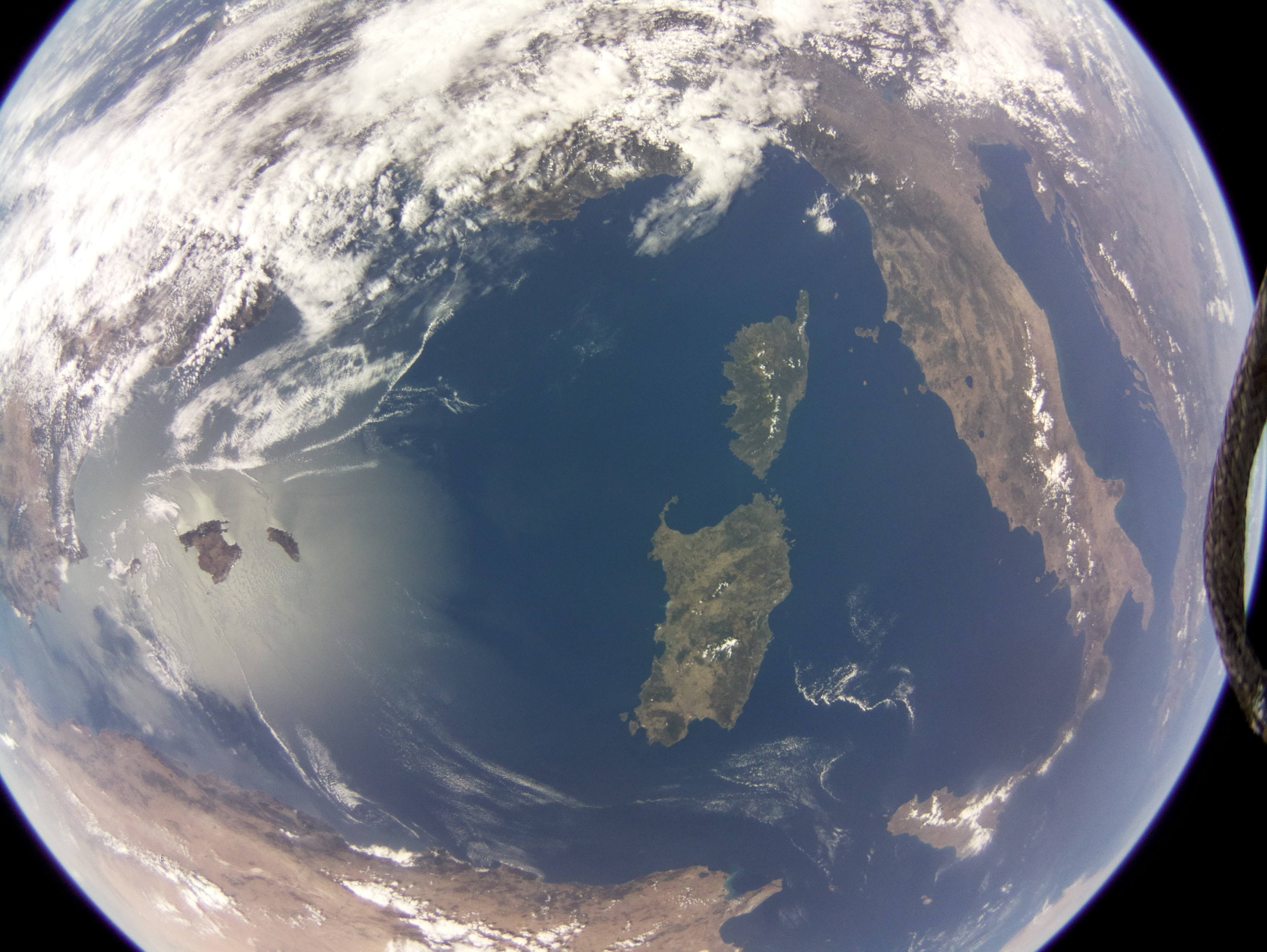 Image of the Mediterranean acquired by commercial grade Raspberry Pi camera on board SSTL's DoT-1 satellite on 19 August 2019. Credit SSTL.